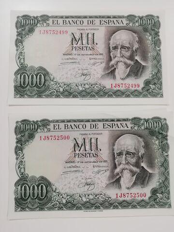 2 Billetes De Mil Pesetas 1971