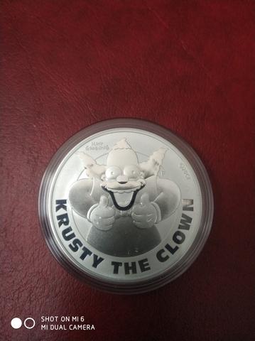 Moneda 1 Onza Plata Krusty Serie Simpson