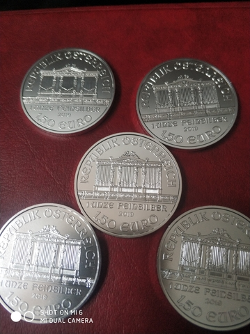 Lote 5 Monedas De Plata Filarmónica 2019