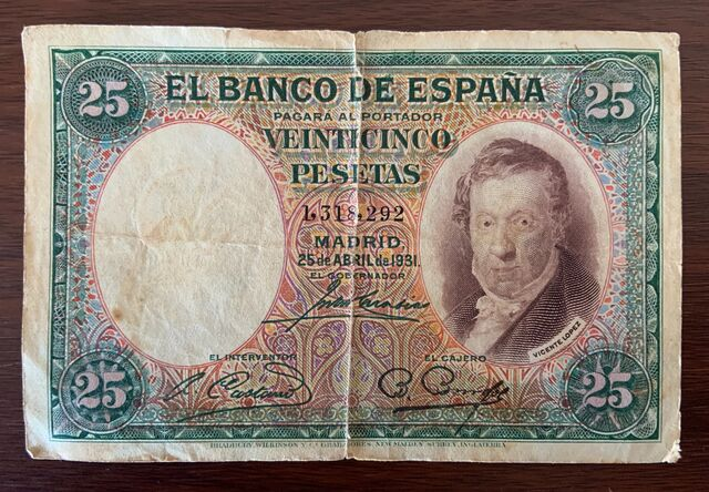 Billete De 25 Pts. Emisión 25-04-1931
