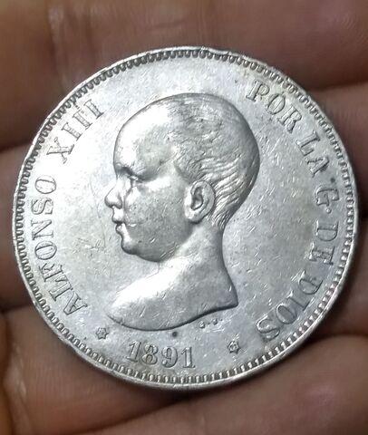 Moneda 5 Pesetas 1891 Alfonso Xiii