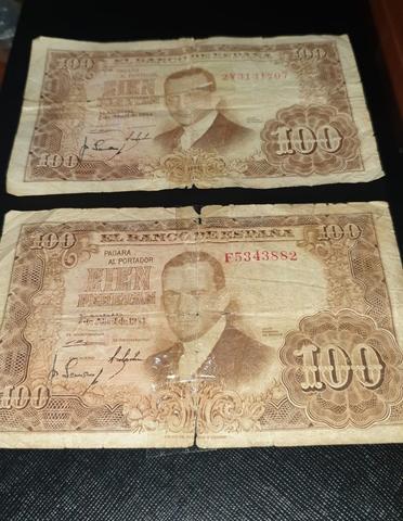 Pareja De Billetes De 100 Pesetas