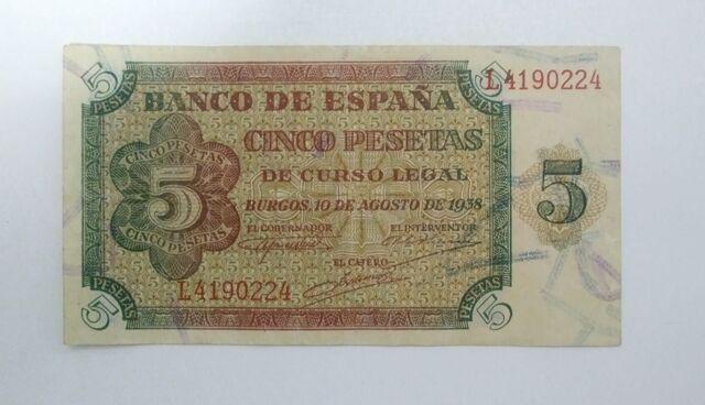 Billete De 5 Pesetas 1938 Burgos