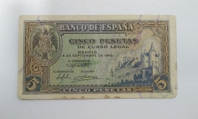 Billete 5 Pesetas 1940