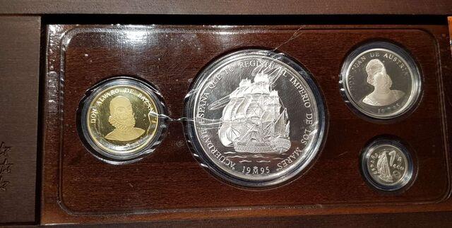 1995 Set 4 Monedas Marina Española Ecus