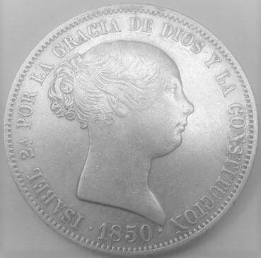 Moneda 20 Reales 1850 Isabel 2
