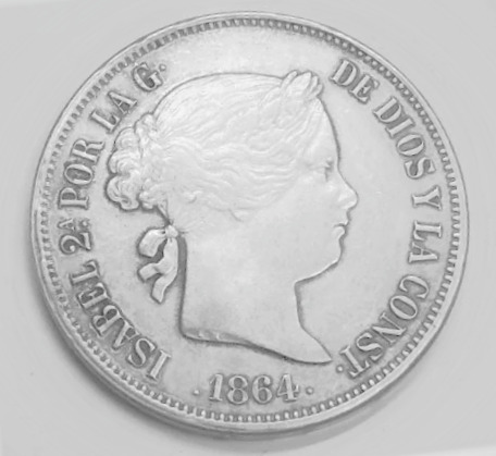 Moneda Isabel 2   20 Reales 1864