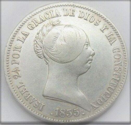 Moneda  20 Reales Isabel 2 -1855