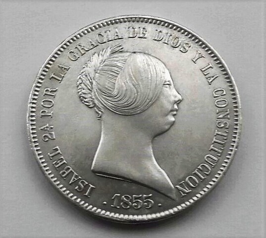 Moneda Isabel Ii 1855 20 Reales 6 Puntas