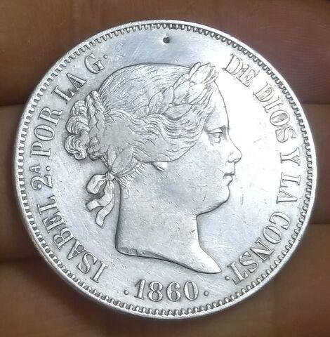 Moneda Plata 20 Reales De 1860 Isabel Ii
