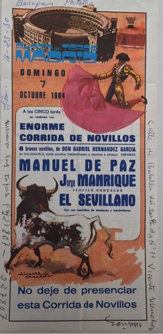 Cartel De Toros De Madrid 7/10/1984