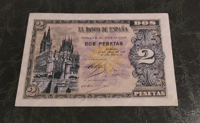 Billete 2 Pesetas Año 1938.Serie A. Sc-