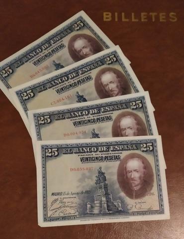 4 Billetes 25 Pesetas Año 1928.