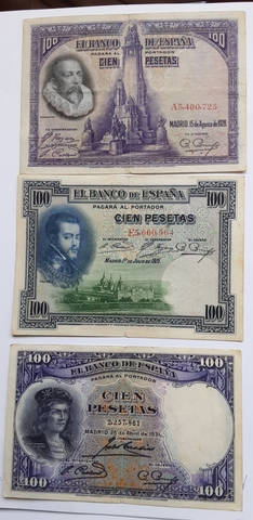 3 Billetes Antiguos  100 Pesetas Distint