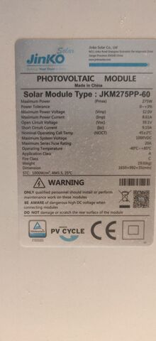 Placa Solar Jinko De 275W