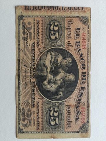 Billete 25 Pesetas 1884