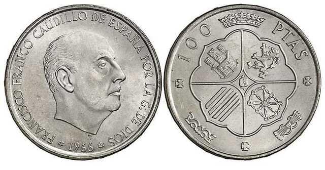 Compro Monedas 100 Pesetas Franco 1966.
