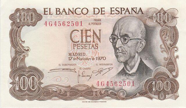 Billetes 100 Pesetas 1970