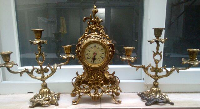 Reloj Y Candelabros De Bronce Años 60