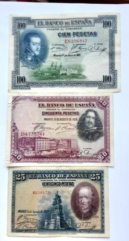 España Tres Billetes Antiguos .25, 50 Y