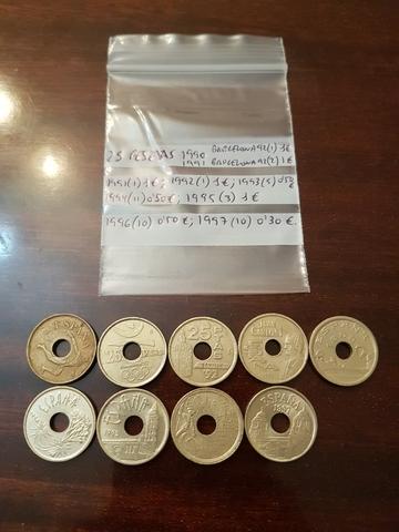 Monedas 25 Pesetas Agujero, Varios Años.