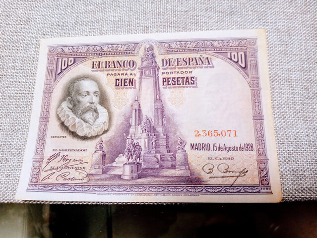 Billete 100 Pesetas 1928 Sin Serie