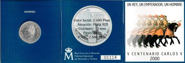 Cartera 2000 Ptas Año 2000 Carlos V
