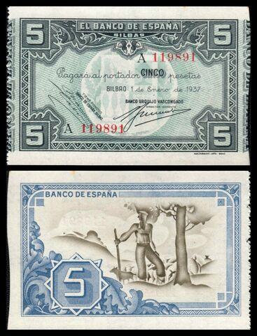 Billete 5 Pesetas Banco Urquijo