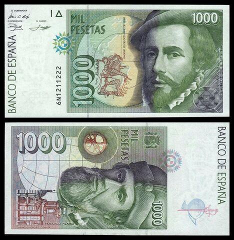 Billete España 1000 Pesetas 1992