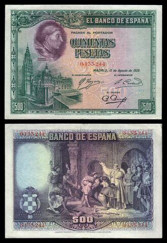 Billete España 500 Pesetas 1928