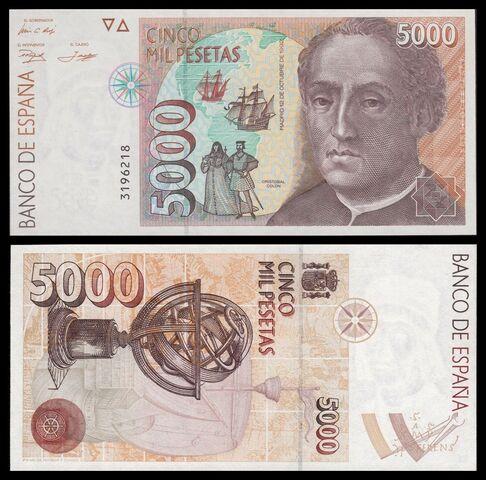 Billete España 5000 Pesetas