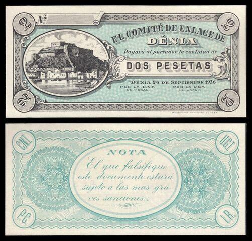 Billete España Denia 1936 2 Pesetas