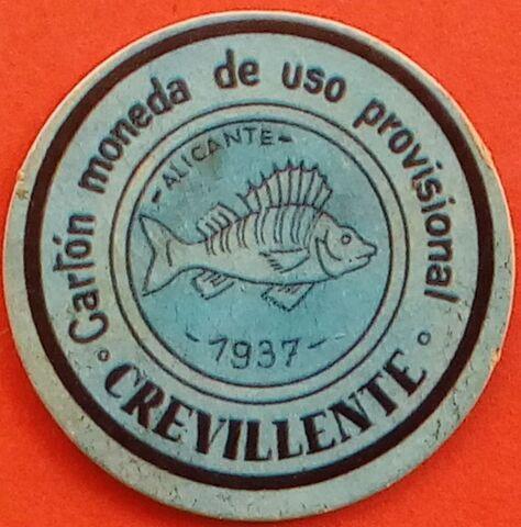 Cartón Moneda De Crevillente 1937