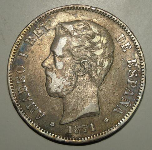 5 Pesetas 1871 Columna + 10 Medallas