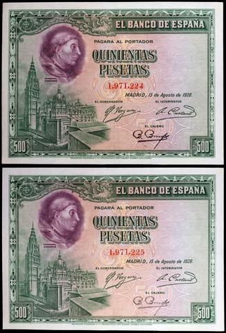 Pareja Correlativa 500 Pesetas Año 1928.