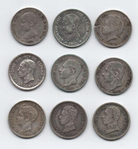 Lote 9 Monedas De Plata 50 Centimos