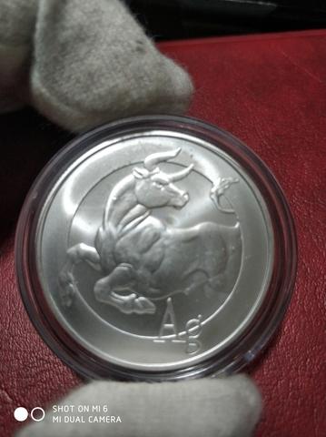 Moneda 1 Onza Plata Toro