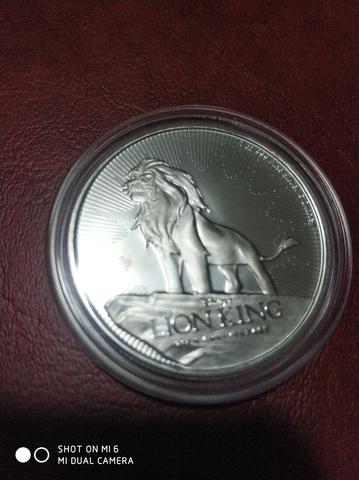 Moneda 1 Onza Plata Rey Leon Disney