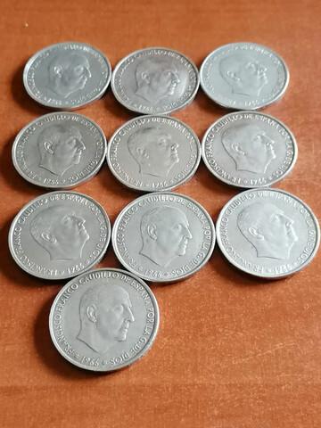 Lote 10 Monedas Plata 1966 Franco