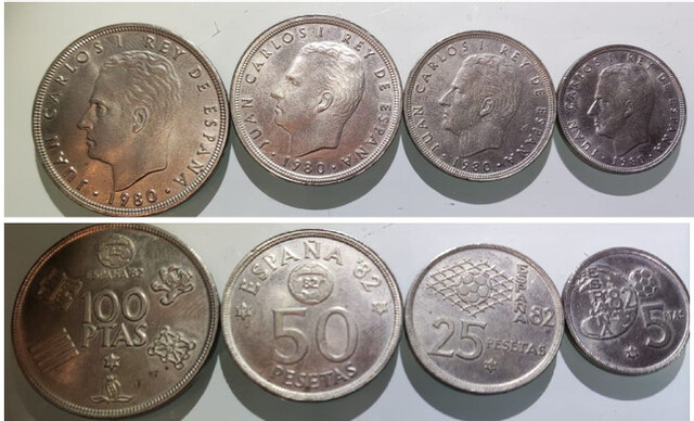 Pesetas Mundial 82 Año 1980 100 50 25 5