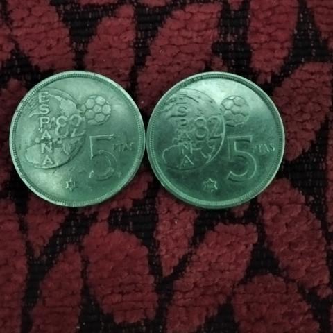 2 Monedas De 5 Peseta Mundial 82 De 1980