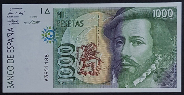 1000 Pesetas 1992 - Serie A. Plancha