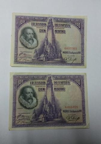 2 Billetes De 100 Pesetas 1928