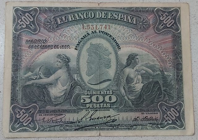 Billete De 500 Pesetas De 1907