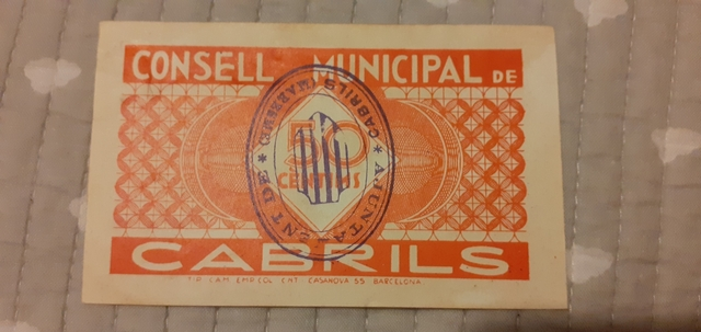 50 Céntimos 1937 Cabrils