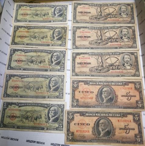 10 Billetes De Cuba Antiguos. 5 Y 10 Pes