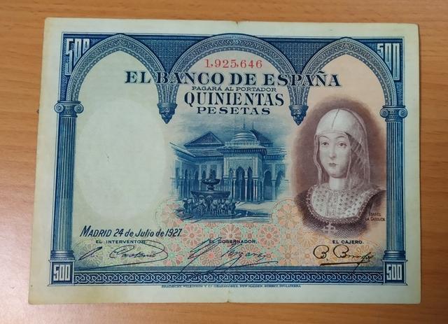 Billete 500 Pesetas Año 1927.
