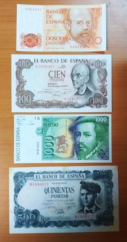 Lote 4 Billetes Monarquía España.