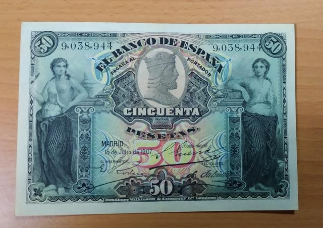 Billete 50 Pesetas Año 1907.Sin Serie.
