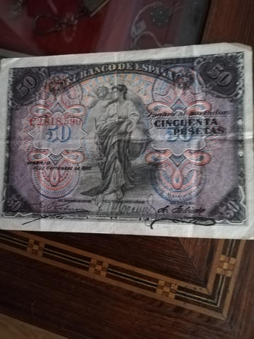 Antiguo Billete De 50 Pesetas 1906